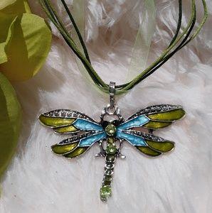 Triple Strand Enamel Dragonfly Necklace